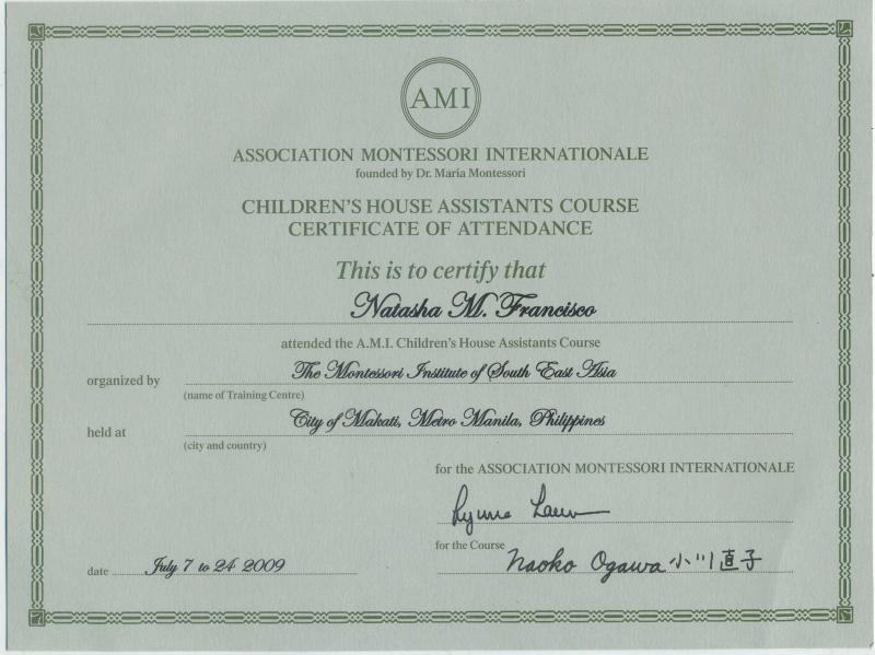Montessori Diploma of Natasha M. Francisco