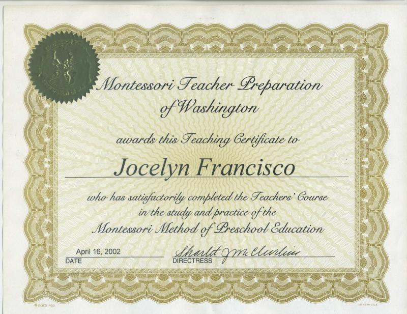 Montessori Diploma of Jocelyn M. Francisco